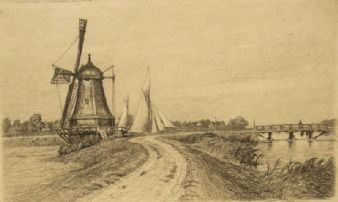 Peter Tom-Petersen; Windmill etching 1906
